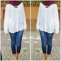 White shirt  Pants  Jeans  Hijab  Hijab outfits  MyhijabStyle