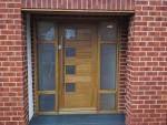 Contemporary Front Door with Modern Home Luxury Custom Meranti Wood Exterior Doors, Glass panel door, exterior stone floors Timber Front Door, Hardwood Front Doors, Wood Entry Doors, Wooden Front Doors, Modern Front Door, Entrance Doors, Modern Entrance, Front Entry, Front Porch
