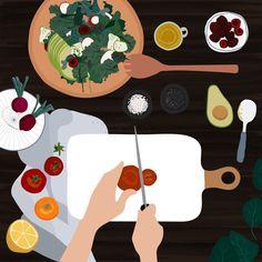 Slicing a tomato for a salad Art Et Illustration, Food Illustrations, Art Mignon, Mode Shop, Graphic Design Inspiration, Food Art, Cute Art, Vector Free, Art Drawings