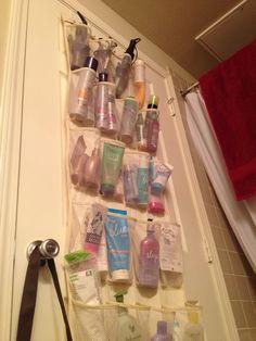 Bathroom organization using shoe organizer