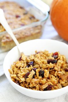 Pumpkin Baked Oatmeal Recipe on twopeasandtheirpod.com This easy baked oatmeal is a must make for fall! The entire family will love it!