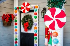 Paige Hemmis is making your house extra-festive this holiday season. Gingerbread Christmas Decor, Candy Land Christmas, Outside Christmas Decorations, Gingerbread Decorations, Candy Decorations, Christmas Time, Christmas Crafts, Christmas Door Decorating Contest, Gingerbread Crafts