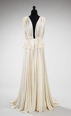 Dress, Evening  Madame Grès (Alix Barton) (French, Paris 1903–1993 Var region)  Date: 1937 Culture: French Medium: silk