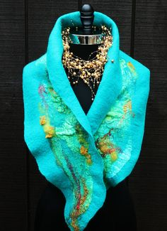 FREE SHIPPING! Felted Scarf,  Merino Wool , Hand dyed silks,  OOAK, Wearable Art, Turquoise, Teals, and Golds Gifts Under 100 dollars by HighCaliberCouture on Etsy