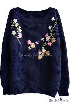 Preppy Look Raglan Sleeve Floral Embroidered Long Sleeve Sweater, Fashion Style Sweaters & Cardigans Do you think I should buy it? Diy Embroidery Patterns, Hand Embroidery Videos, Embroidery On Clothes, Flower Embroidery Designs, Embroidered Clothes, Hand Embroidery Stitches, Embroidery Fashion, Sweater Embroidery, Diy Fashion