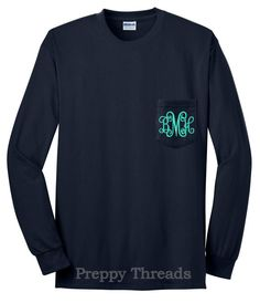 Long Sleeve Monogrammed Tshirt with Pocket by PreppyThreads, $25.00
