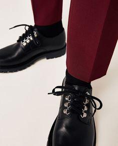 Image 7 de BLACK LEATHER SHOES WITH TRACK SOLES de Zara