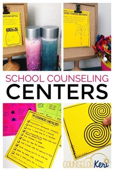 School counseling centers: materials for empathy centers, feelings centers, friendship centers, kindness centers, managing anger centers, mindfulness centers, self esteem centers, self-regulation centers, social skills centers, stress management centers, test prep centers, career exploration centers, personal safety centers, internet safety centers, and healthy choices centers. Great for classroom guidance lesson centers and small group counseling centers!