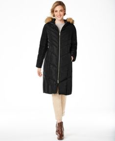 Cole Haan Petite Hooded Faux-Fur-Trim Down Puffer Coat - Graphite Down Puffer Coat, Down Coat, Coats For Women, Clothes For Women, Chevron Quilt, Plus Size Shopping, Plus Size Designers, Casual Loafers, Petite Outfits