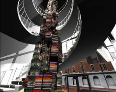 Spiral tower of books on Lincoln @ Ford's Theatre Center for Education (2/2)