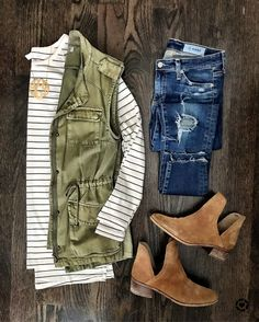 Fall Outfit | green field vest, stripe top, distressed jeans, & booties from @mrscasual on IG