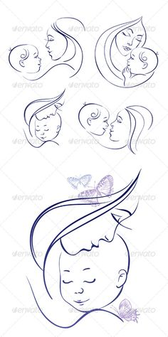 Buy Mother and Baby Icon Set by pimonova on GraphicRiver. Set of linear silhouettes of mothers and babies includes: one image of mother and baby with hand drawn butterflies, f. Mother And Baby Tattoo, Mother Son Tattoos, Mom Baby Tattoo, Tattoo For Son, Tattoos For Daughters, Baby Tattoos, Body Art Tattoos, Icon Set, Krebs Tattoo