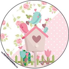 Tubetes-Toppers-e-Latinhas-Jardim-Encantado-Provençal. Bird Party, Tea Party, Decoupage, Candy Bar Labels, Diy And Crafts, Paper Crafts, Bird Theme, Owl Bird, Baby Shower Parties