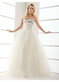 Beautiful Ball Gown Strapless Floor-Length Tulle and Sequins Wedding Dress