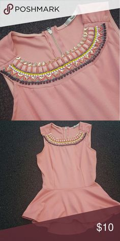 peplum top nude/dusty pink peplum top - perfect for dressy night out and/or business casual events! - size S Papaya Tops