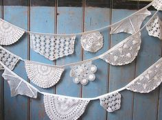 Vintage Doily Bunting. Wedding Bunting.  Crochet Vintage  doilies in Off White a 5m strand.