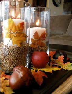 centro mesa con velas