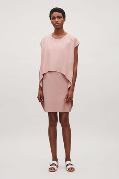 COS image 12 of Layered short-sleeve dress in Dusty Pink