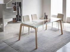 RECTANGULAR WOOD AND GLASS LIVING ROOM TABLE GLIDE | RECTANGULAR TABLE | RIFLESSI