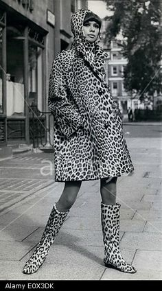 Stock Photo - Jan 1965 - A woman wears a leopard print coat and boots in the Leopard Fashion, Animal Print Fashion, Fur Fashion, Fashion Prints, Couture Fashion, Leopard Fur Coat, Cheetah, Leopard Prints, Black And White