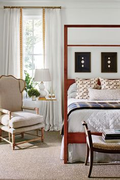 """""""I love a small bedroom. I see it as a cocoon,"""" Braund explains. #homedecor #southernliving #cottagestyle"""