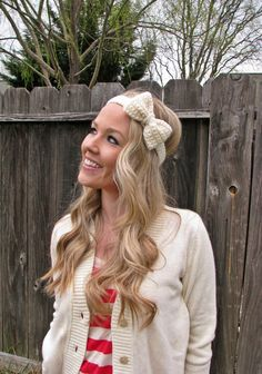 Vanilla Bean Cream Bow Headband with Natural Vegan by HillNTrees, $19.00