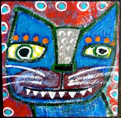 """""""OverBite"""" a kitty cat painting on wood by Tracey Ann Finley #outsiderart #folkart #cats #bluecat"""