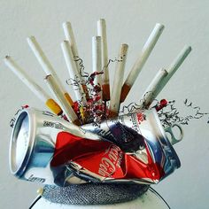 My interpretation of #objectsofdesire @gallery_139  #millinery #headwear #wearableart #headpiece #cigarette #cocacola #desire #crave #addiction #fun #funatwork #newcastleaustralia #newcastle #newcastlenow #contemporaryart #huntervalley #artwear #artinthecity