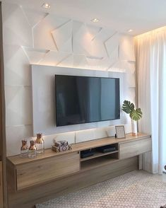 TV wall unit Designs is an essential part while designing your living room, Bedroom or tv room. Tv Stand Designs For Living Room have to be. Home Room Design, Home Interior Design, House Design, Design Design, Home Living Room, Living Room Decor, Modern Tv Wall Units, Modern Tv Room, Tv Unit Decor