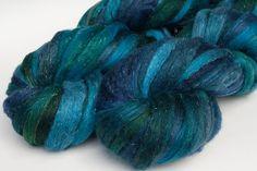 Merino, silk, silver sparkle roving: Westward, 4 oz