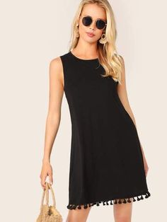 To find out about the Tassel Hem Sleeveless Tunic Dress at SHEIN, part of our latest Dresses ready to shop online today! Straight Dress, Fringe Dress, Sleeveless Tunic, Hot Dress, Latest Dress, Pop Fashion, Dress Fashion, Fashion Trends, Cute Dresses
