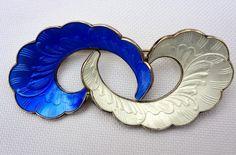 Signed Ivar Holt Blue Enamel Sterling Silver Vintage Norway Vintage Brooch Pin