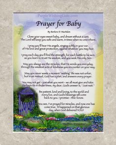 """A Prayer for Baby: This original, one-of-a-kind """"frame-able"""" blessing is…"""