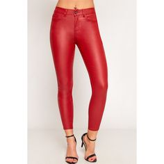 WearAll Faux Leather PU High Waisted Skinny Jeans ($36) ❤ liked on Polyvore featuring jeans, red, faux leather jeans, high rise jeans, red skinny jeans, super high-waisted skinny jeans and super skinny jeans