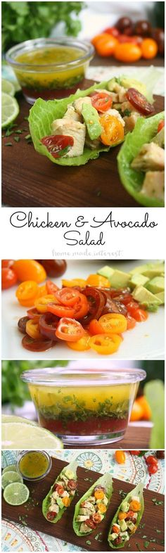 Chicken and Avocado Salad | If you want a light, low carb lunch recipe this chicken and avocado salad is one of my favorites. Grilled, or baked chicken, fresh avocado and tomatoes, and a light lime cilantro vinaigrette, in a simple lettuce wrap makes the perfect low carb recipe. ‪AD