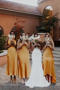Wedding Goals, Boho Wedding, Dream Wedding, Wedding Day, Wedding Bridesmaid Dresses, Printed Bridesmaid Dresses, Bohemian Bridesmaid, Yellow Bridesmaids, Bridesmaid Dress Colors