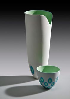 Ceramics by Sasha Wardell at Studiopottery.co.uk - 2011. Tall Green Space Vase with Bowl.