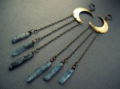 Kyanite Moon Earrings: Crystal Point Chandelier Earrings Crescent Moon Earrings Natural Blue Crystal Fringe Earrings Bohemian Lunar Jewelry on Etsy, $43.09 CAD. @Nathasha Coleman
