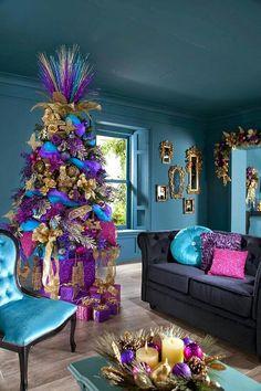 Purple, Pink, Blue and Gold colour scheme