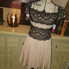 NWT 50's style pin-up dress with vintage choker Never worn, light rose and black lace , zips up the back. 95% polyester 5% elastine. 27 inches long from the back.. includes vintage pearl choker JustFab Dresses Midi