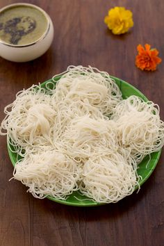 Idiyappam is a traditional Tamil, Kerala, Kodava, Tulu and Sri Lankan food consisting of rice flour pressed into noodle form and then steamed. Rice Flour Recipes, Veg Recipes, Indian Food Recipes, Vegetarian Recipes, Snack Recipes, Dinner Recipes, Cooking Recipes, Healthy Recipes, Ethnic Recipes