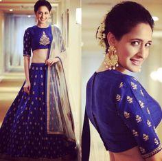9 Breathtaking Blue Lehenga Designs That Have Us Floored Blouse Lehenga, Red Lehenga, Lehenga Choli, Anarkali Dress, Sabyasachi, Indian Wedding Lehenga, Bridal Lehenga, Indian Weddings, Indian Lehenga