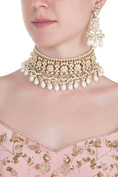 Gold plated rose pink pearl choker necklace set available only at Pernia's Pop Up Shop. Diamond Initial Necklace, Delicate Gold Necklace, Pearl Choker Necklace, Necklace Set, Diamond Jewelry, Pendant Necklace, Gold Jewelry, Pearl Pendant, Antique Jewellery