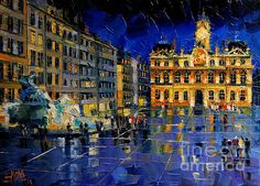 One Evening in Terreaux Square Lyon by EMONA Art