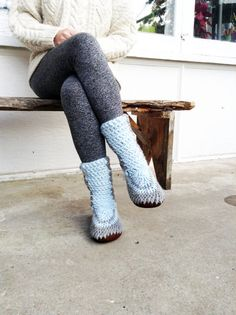 Knitted Slipper Boots with Leather Soles, Slipper Boots for Women and Men, Crochet Wool Slipper Booties, Handmade Slipper Boots Moccasins