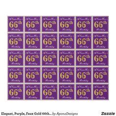 Elegant, Purple, Faux Gold Birthday + Name Wrapping Paper Birthday Name, 65th Birthday, Wrapping Paper Design, Custom Wrapping Paper, Birthday Greeting Cards, Birthday Greetings, Wraps, Names, Elegant