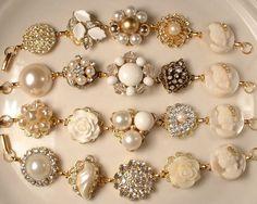 4 Vintage Ivory Pearl & Rhinestone Gold Bridesmaids Bridal Bracelets, Heirloom Cluster Earring OOAK Bracelets Bridesmaids Gifts Set of 4