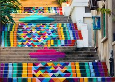 Stairs painted in Beirut by Dihzahyners