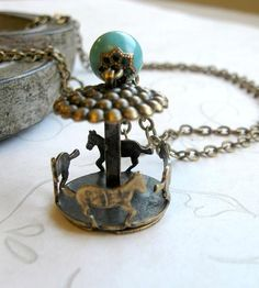 Brass Carousel Charm Necklace