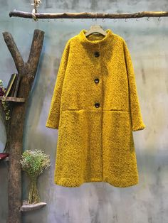 2016 Latest Stand Collar Front Buttons #Woolen #Coat #Plus Size #Winter #Coat